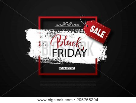 Black friday sale background with frame and brush stroke. Modern design.Universal vector background for poster, banners, flyers, card
