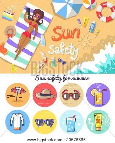 Sun safety for summer vector illustration. Woman on beach with suntan lotions, striped umbrella and life buoy, hat, sunglasses, cold drinks and dress.