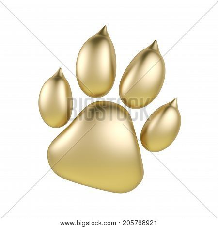 Golden paw print icon isolated on white background. Dog paw footprint 3d rendering.
