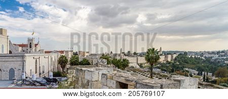 JERUSALEM, ISRAEL - DECEMBER 8: Panoramic view of Jerusalem from the walls of the Old City of Jerusalem, Israel on December 8, 2016