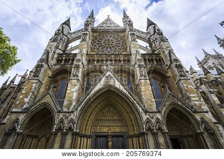 Detail of the side view of Westminster Abbey in a cloudy day.