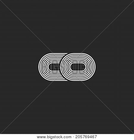 Combination Two Small Letters C And O Creative Co Logo Monogram, Black And White Parallel Thin Lines