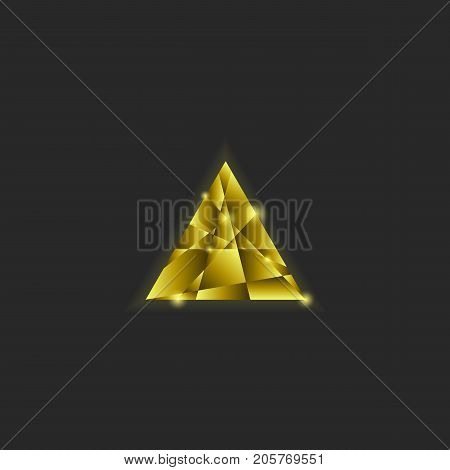 Golden Triangle Logo, Shiny Multilayer Intersecting Random Scales Yellow Gradient, Luminous Gold Met