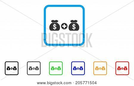 Add Money Bags icon. Flat pictogram symbol in a rounded rectangular frame. Black, gray, green, blue, red, orange color variants of Add Money Bags vector. Designed for web and software interfaces.