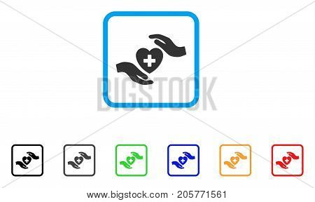 Cardiology Care Hands icon. Flat iconic symbol in a rounded rectangle. Black, gray, green, blue, red, orange color additional versions of Cardiology Care Hands vector.