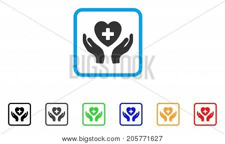 Cardiology Care Hands icon. Flat pictogram symbol inside a rounded squared frame. Black, gray, green, blue, red, orange color variants of Cardiology Care Hands vector.