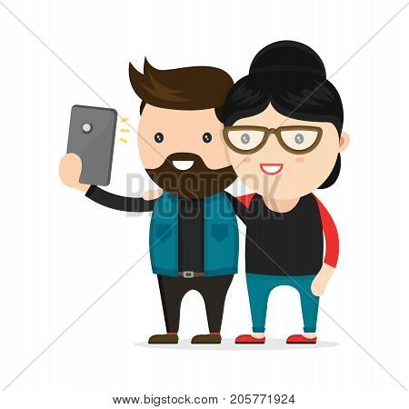 Young hipster man and woman. couple. Vector flat modern style illustration character icon design. Isolated on white background.