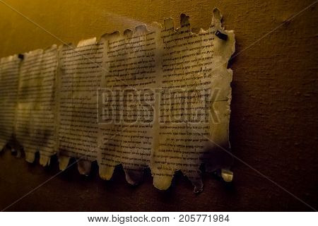 QUMRAN, ISRAEL - JANUARY 28: Dead Sea Scrolls, Qumran Caves Scrolls, manuscripts found near the Dead Sea in the Qumran Caves, Israel on January 28, 2017