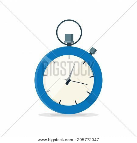 Blue stopwatch clock watch. Vector modern flat style cartoon illustration icon. Isolated on white background.