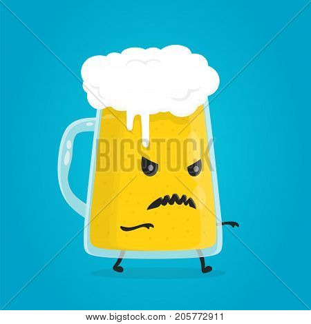 Zombie glass of beer. Angry, evil, alcohol addiction concept. Vector flat cartoon character illustration design