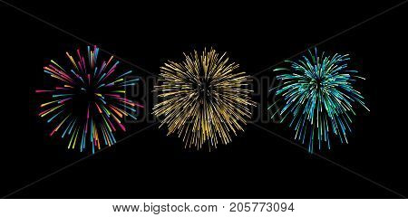 Colorful graphic firework bursts shapes isolated on black. Festive explosions collection. Vintage explosive light rays. Vector sketch illustration. Design elements