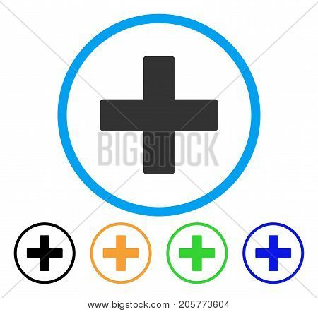 Add Math Operation rounded icon. Style is a flat add math operation grey symbol inside light blue circle with black, yellow, green, blue versions. Vector designed for web and software interfaces.