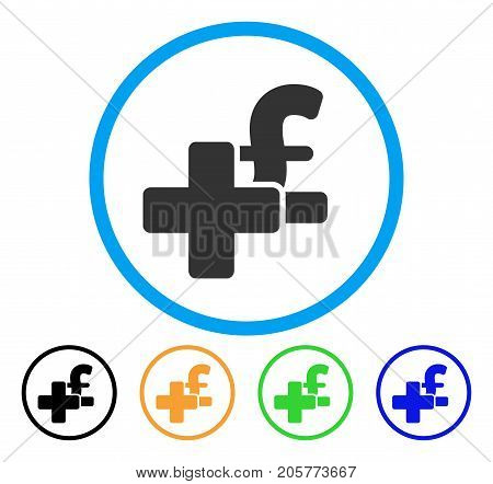 Add Pound rounded icon. Style is a flat add pound gray symbol inside light blue circle with black, yellow, green, blue color versions. Vector designed for web and software interfaces.