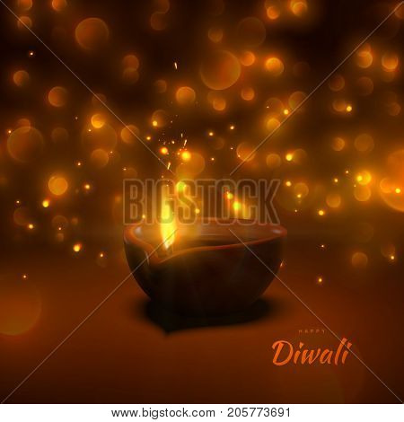 Happy Diwali. Indian festival of lights and fire. Vector hindu holiday illustration of wooden oil lamp diya with flame, sparkles and blurred lights. Deepavali religion event.