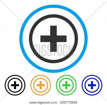 Add rounded icon. Style is a flat add gray symbol inside light blue circle with black, yellow, green, blue variants. Vector designed for web and software interfaces.