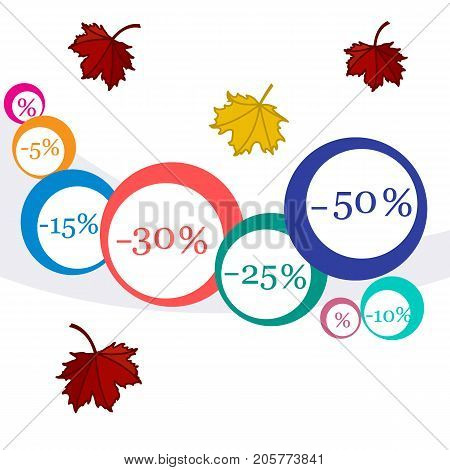 Vector  Illustration Of Various Discounts For Markets And Shops. Label For Shop.