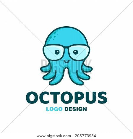 Fun little cute smiling happy octopus in glasses. Vector modern style flat line character cartoon illustration icon logo template design. Isolated on yellow background. Kid, children concept
