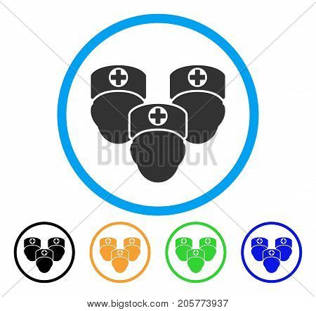 Consultation Medic Group rounded icon. Style is a flat consultation medic group grey symbol inside light blue circle with black, yellow, green, blue versions.