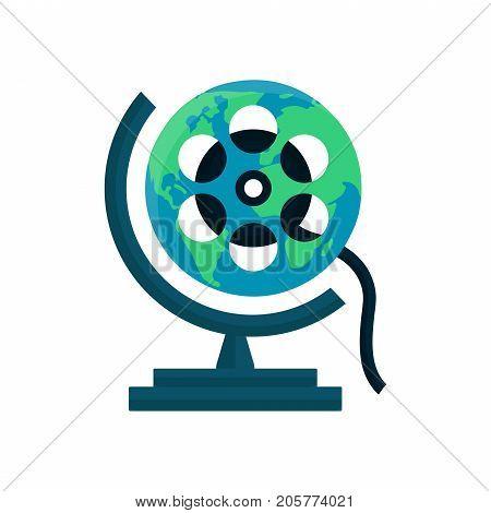 Globe movie, World cinema festival, film concept. Vector logo flat illustration design isolated on white background
