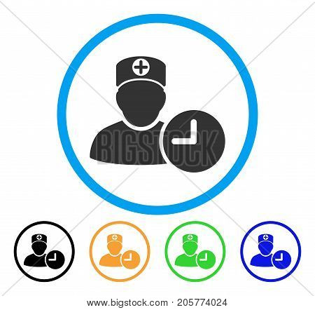 Doctor Appointment Clock rounded icon. Style is a flat doctor appointment clock grey symbol inside light blue circle with black, yellow, green, blue variants.
