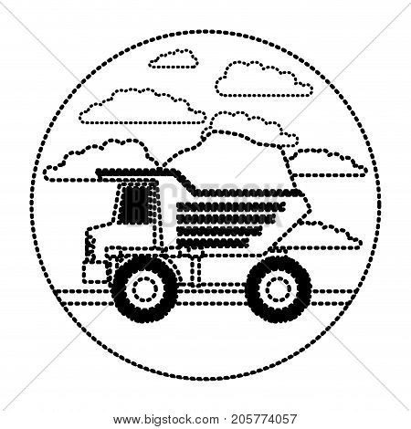 dump truck in circular frame with cloud landscape on monochrome dotted silhouette vector illustration