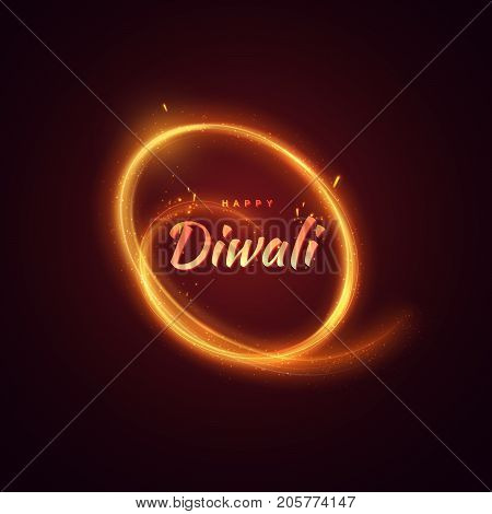 Happy Diwali. Indian festival of lights and fire. Vector hindu holiday illustration of Diwali label and neon spiral light stroke and glowing sparkles. Deepavali religion event.