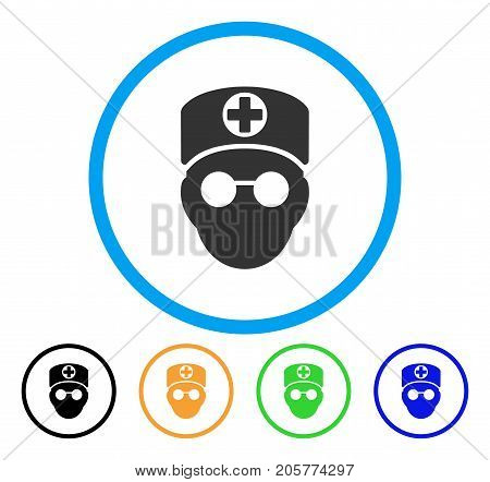 Doctor Head rounded icon. Style is a flat doctor head gray symbol inside light blue circle with black, yellow, green, blue versions. Vector designed for web and software interfaces.