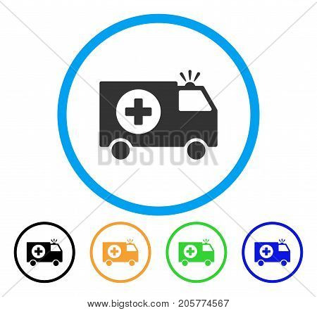 Emergency rounded icon. Style is a flat emergency grey symbol inside light blue circle with black, yellow, green, blue color versions. Vector designed for web and software interfaces.