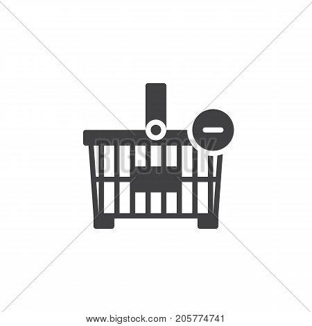 Shopping basket minus icon vector, filled flat sign, solid pictogram isolated on white. Symbol, logo illustration
