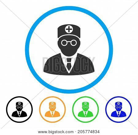 Head Physician rounded icon. Style is a flat head physician grey symbol inside light blue circle with black, yellow, green, blue variants. Vector designed for web and software interfaces.