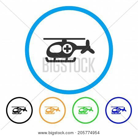 Helicopter rounded icon. Style is a flat helicopter gray symbol inside light blue circle with black, yellow, green, blue color versions. Vector designed for web and software interfaces.