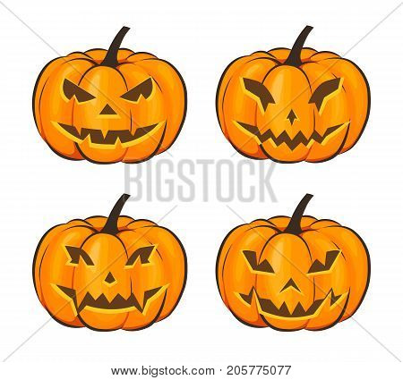Set with a terrible pumpkin for Halloween in a cartoon style on a white background. Vector Illustration on Halloween Celebration for your projects.