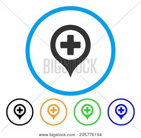 Hospital Map Marker rounded icon. Style is a flat hospital map marker gray symbol inside light blue circle with black, yellow, green, blue versions. Vector designed for web and software interfaces.