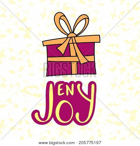 Enjoy. Brush lettering typography. Handwriting text design with gift box and handdrawn lettering.