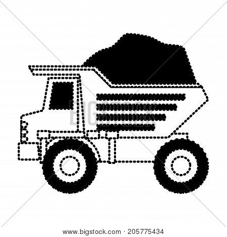 dump truck with rocks on monochrome dotted silhouette vector illustration