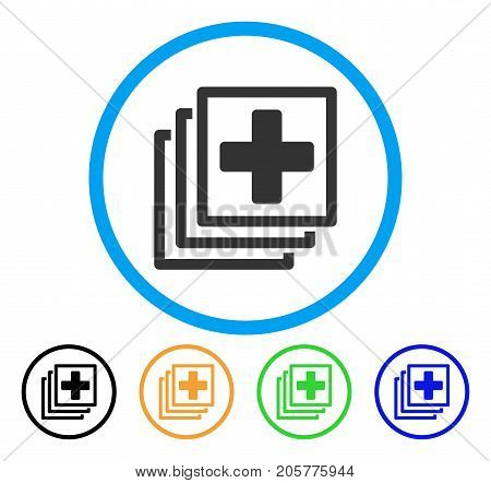 Medical Items rounded icon. Style is a flat medical items grey symbol inside light blue circle with black, yellow, green, blue color versions. Vector designed for web and software interfaces.