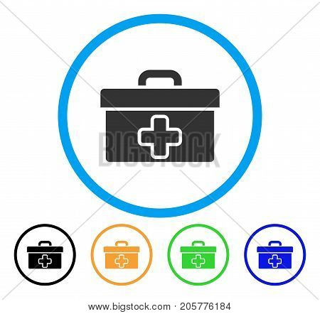 Medical Tools Box rounded icon. Style is a flat medical tools box grey symbol inside light blue circle with black, yellow, green, blue variants. Vector designed for web and software interfaces.