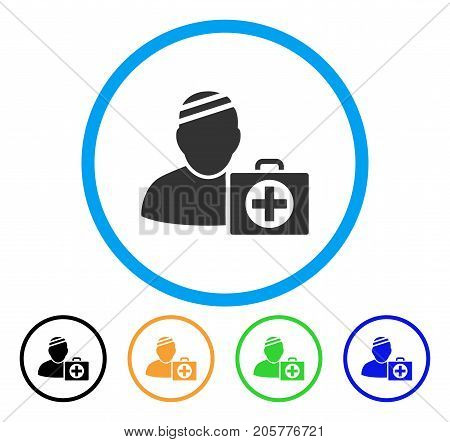 Patient First Aid Case rounded icon. Style is a flat patient first aid case grey symbol inside light blue circle with black, yellow, green, blue variants.