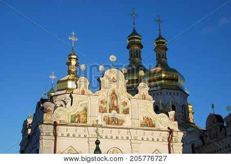 Usrenskiy Cathedral, Kiev-Pechersk Lavra, Kiev, Ukraine against the blue sky