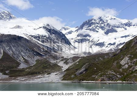 The snowy mountains in Glacier Bay national park (Alaska).