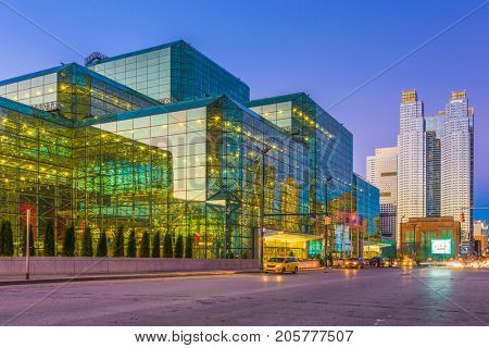 NEW YORK CITY - NOVEMBER 11, 2016: The Jacob K. Javits Convention Center in Hell's Kitchen. The convention center is considered one of the busiest in the USA.