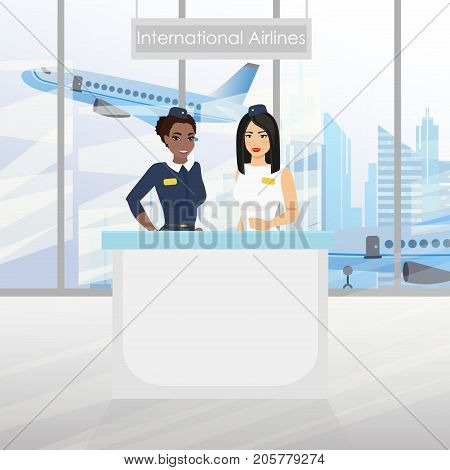 A nice european flight attendant and African American stewardess at the desk with an airport. International airlines. Vector illustration in flat cartoon design