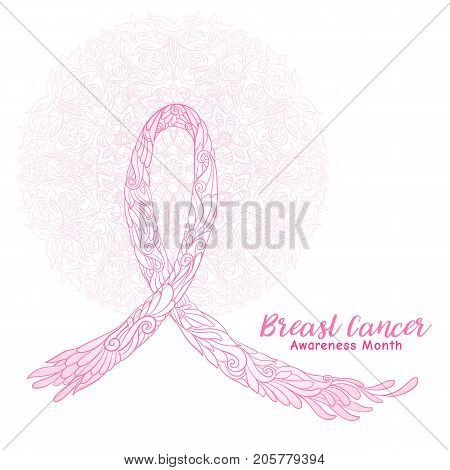 Breast cancer awareness month decorative pink ribbon on decorative mandala background. Stock line vector illustration.