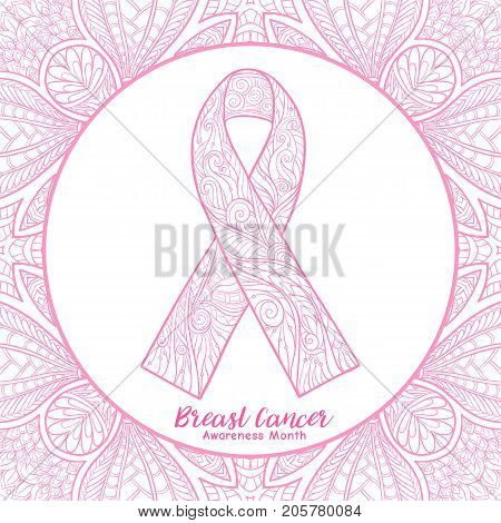 Breast cancer awareness month decorative pink ribbon on decorative background. Stock line vector illustration.