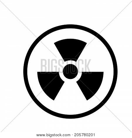 Nuclear icon iconic symbol inside a circle on white background. Vector Iconic Design.
