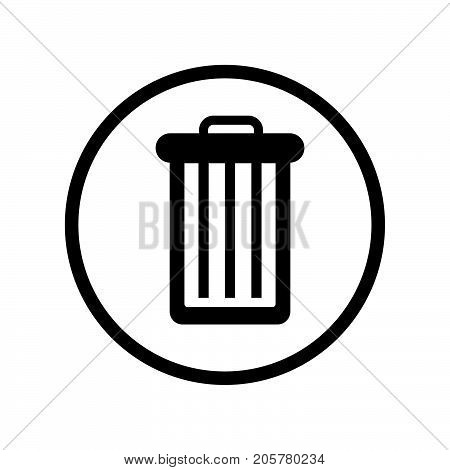 Trash bin icon iconic symbol inside a circle on white background. Vector Iconic Design..