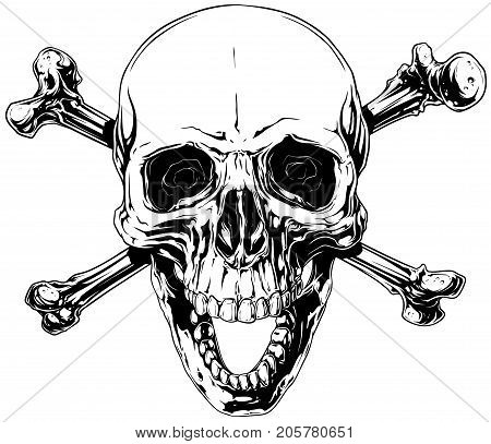 Graphic black and white detailed smiling human skull with crossed bones and open jaw vector