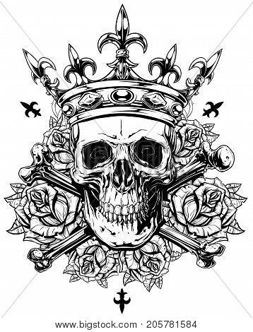 Graphic realistic black and white detailed human skull with crossed bones crown and roses with spikes vector