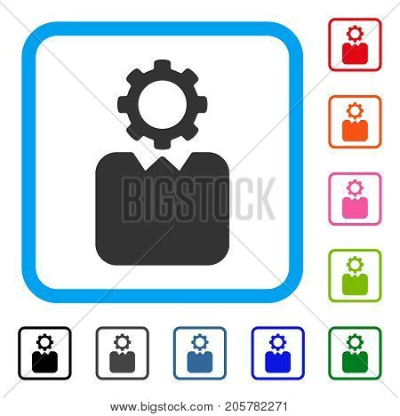Bureaucrat icon. Flat pictogram symbol inside a rounded rectangular frame. Black, gray, green, blue, red, orange color versions of Bureaucrat vector. Designed for web and software interfaces.