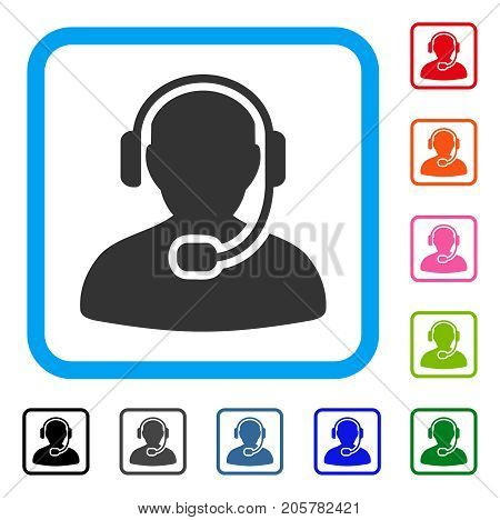 Call Center Worker icon. Flat iconic symbol inside a rounded rectangle. Black, gray, green, blue, red, orange color additional versions of Call Center Worker vector.